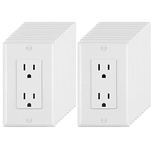 ([20 Pack] BESTTEN 15A/125V Decorator Outlets, Electrical Duplex Receptacles, Non-Tamper-Resistant, Decor Wall Plates Included, Residential & Commercial Grade, UL Listed, White)