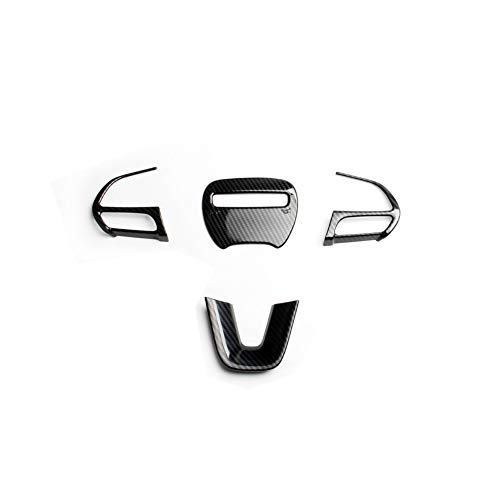 JSTOTRIM Steering Wheel Carbon Fiber Moulding Chrome Cover Trims kit for 2016 2017 2018 2019 2020 Dodge Challenger Charger - Carbon Fiber Charger Dodge