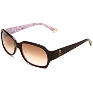 Juicy Couture Women's JU522S Rectangular Sunglasses,Espresso Pink Frame/Brown Pink Lens,One Size
