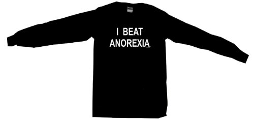I Beat Anorexia Men's Tee Shirt-Black Long Sleeve