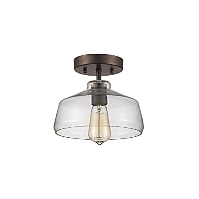 1-Light Semi-Flush Ceiling Fixture with Clear Shade