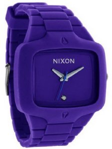 Men Nixon A139-230 Stainless Steel Case Quartz Purple Dial Purple Rubber Strap