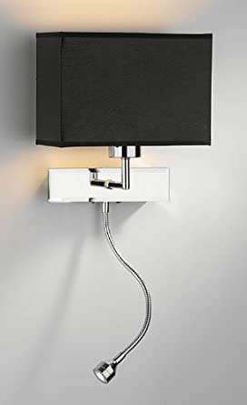 Wall Lamps With Reading Light : Bedside Wall Lamp with Flexi LED Reading Light and Double Switch - HP011434: Amazon.co.uk: Lighting