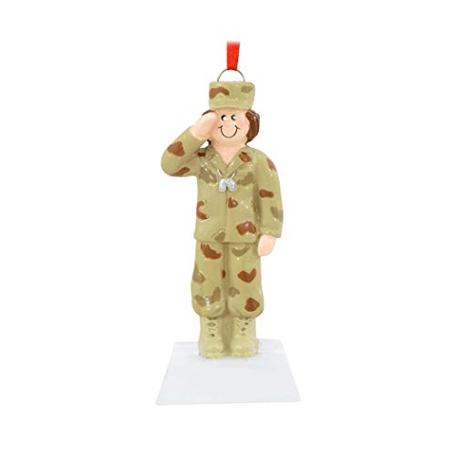 Personalized Army Woman Christmas Tree Ornament 2019 - Armed Forces Soldier Female Trooper Salute Brave Service Rifle Gun Fatigues Camo Uniform Proud Patriotic USA States Year - Free Customization -