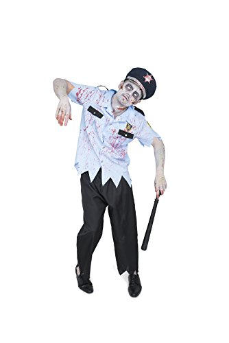 Karnival Men's Zombie Officer Costume Set - Perfect for Halloween, Costume Party Accessory. Trick or Treating -