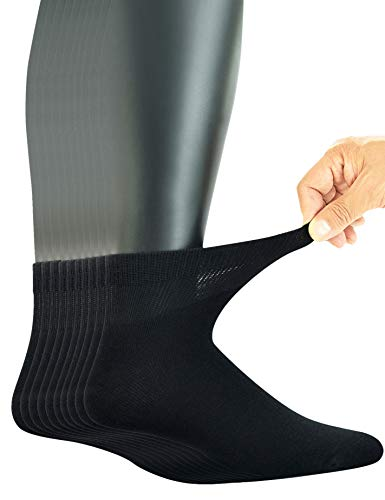 Yomandamor Men's 10 Pairs Combed Cotton Diabetic Ankle Socks with Seamless Toe and Non-Binding Top ()