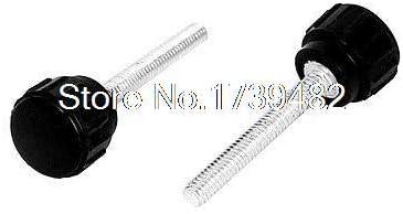 Screw M4 x 30mm Male Thread Plastic Knurled Head Clamping Knob Jig Black 10pcs