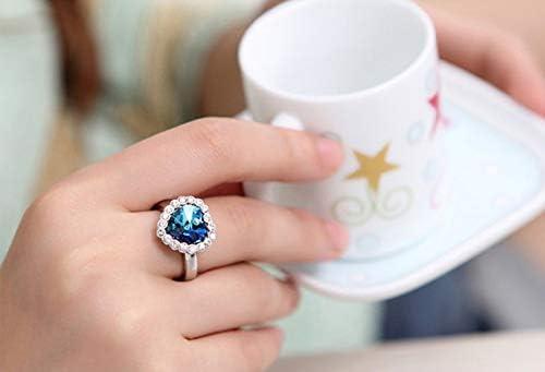 Cdet Cadeau de la Saint-Valentin Dernier Femmes Bague Populaire Amour de brillance bleue Bague R/églable en argent pour fille femme Belle bague Mode Filles Style Nouveau 1 pc