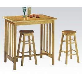 Top Breakfast Table Tile - 3pc Pack Tile Top Breakfast Table Set in Oak Finish #AC 012140