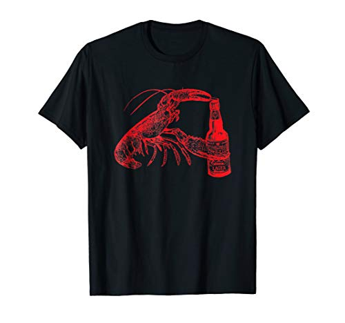 Beer Drinking Lobster Funny Beer T-Shirt - Red