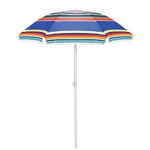 Picnic Time Outdoor Sunshade Umbrella, Multi-Color Stripe