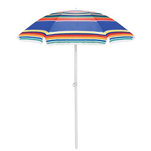 Picnic Time Outdoor Sunshade Umbrella, Multi Color Stripe