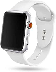 Sport Band For Apple Watch 44mm,Soft Silicone Strap Replacement - White