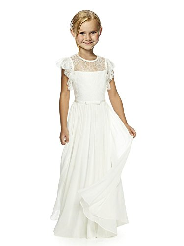 - Castle Flower Girl First Communion Pageant Wedding Lace Birthday Dress 14 White