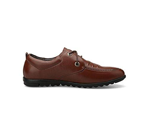 GRRONG En Homme Cuir Brown Loisirs Véritable Cuir De Chaussures Pour En Entreprise Brun Noir qwTXxqSr