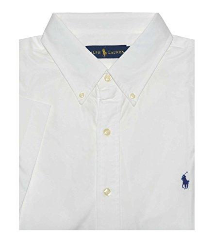 Ralph Lauren Men Plaid Short Sleeve Button-Down Shirt (XXL, White/Blue - Tartan Lauren Ralph