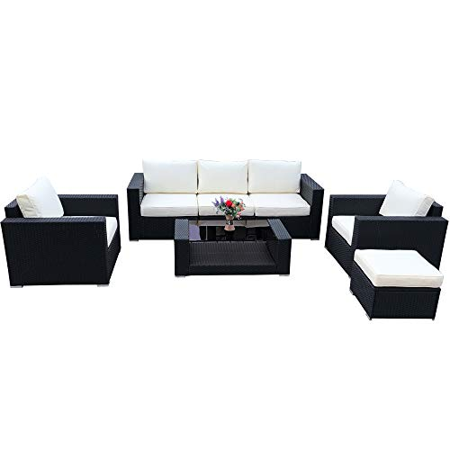 Do4U 7pcs Outdoor Patio Garden Rattan Wicker Sofa Set Sectional Furniture Set (Black-9002)