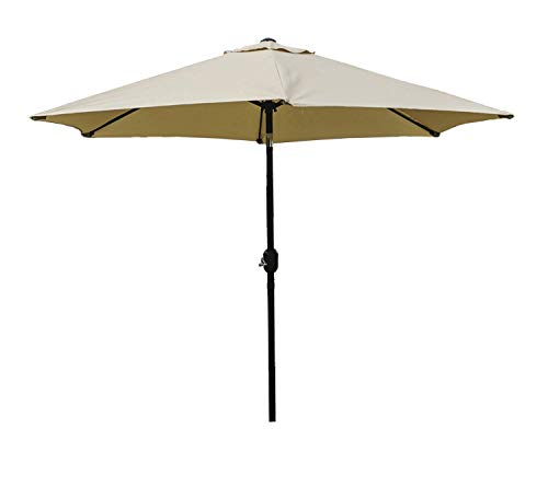 Kozyard 9 Feet Patio Outdoor Umbrella with Push Button to Crank, 100 Polyester, Steel Rib and Sturdy Aluminum Pole in Bronze Finish Beige