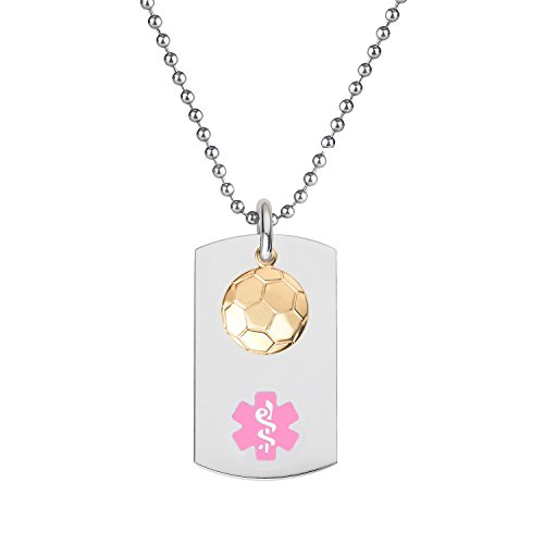 Divoti-Custom-Engraved-316L-Medical-Alert-Necklace-24-Ball-Chain-Dog-Tag-PVD-Gold-Soccer-Dangle-Charm