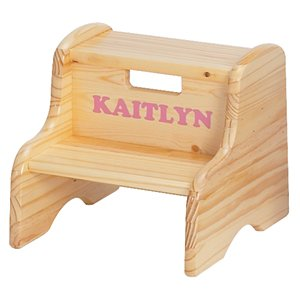 Kid's Solid Wood Step Stool Finish: Honey Oak, Customize: Yes, Letter Color: Red