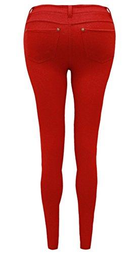 Jeggins elásticos de colores y con cremallera para mujer, disponibles en tallas 36 – 54 Rojo rosso 40