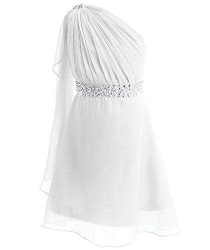 FAIRY COUPLE Little Girl's One Shoulder Embellished Short Chiffon Flower Girl Dress K0140 6 White (Shoulder Chiffon One Dress White)