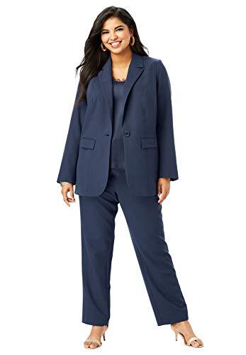 - Roamans Women's Plus Size Straight-Leg Pantsuit with Blazer - Navy, 12 W