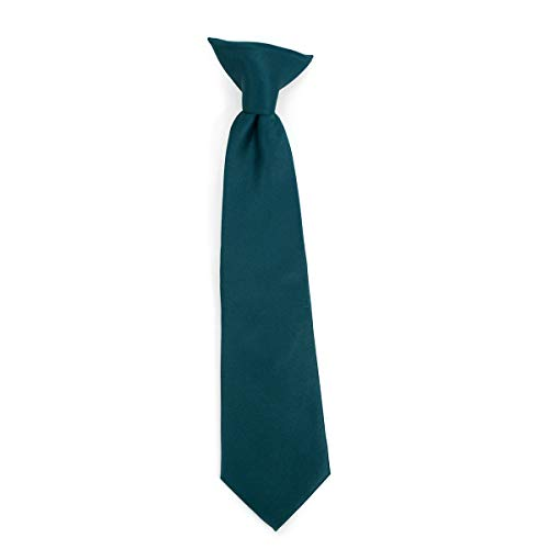 Boy's Solid Color Clip on Tie Pretied For Kids - Formal Neckties for Boys