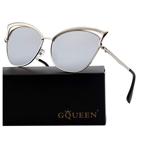 GQUEEN Women's Oversized Polarized Metal Frame Mirrored Cat