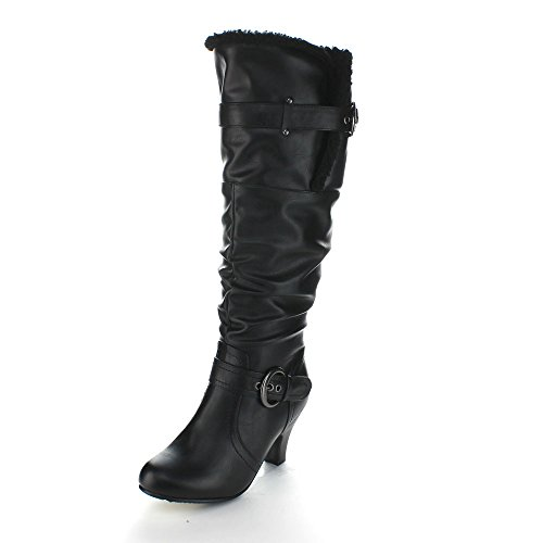 FOREVER BIBI-32 Womens Kitty Heel Slouchy Knee High Riding Boots, Color:BLACK, Size:6