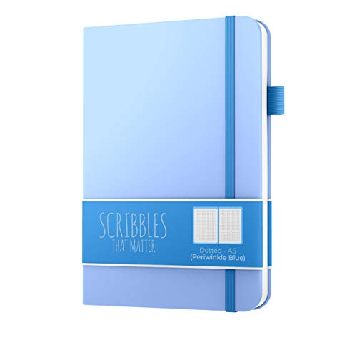 Dotted Journal By Scribbles That Matter - Create Your Own Unique Life Organizer - No Bleed A5 Hardcover Dotted Notebook With Inner Pocket - Fountain Pens Friendly Paper - Pro Version - Periwinkle Blue