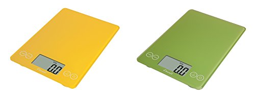 Escali Arti Glass Kitchen Scale, 15 Lb / 7 Kg - Solar Yellow and Key Lime Green, Set of 2 by Escali