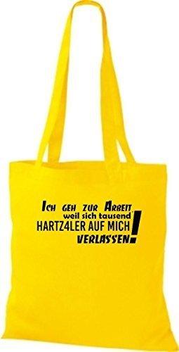 Shirtstown Stoffbeutel lustige Sprüche ich geh zur Arbeit weil sich tausend ... viele Farben gelb