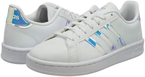 31C0JbhNpHL. AC adidas Women's Grand Court Sneaker    A '70s style reborn. These women's shoes take inspiration from iconic sport styles of the past and move them into the future. The shoes are made of a durable leather-like upper with signature 3-Stripes along the sides. Plush midsole cushioning gives comfort to every step.