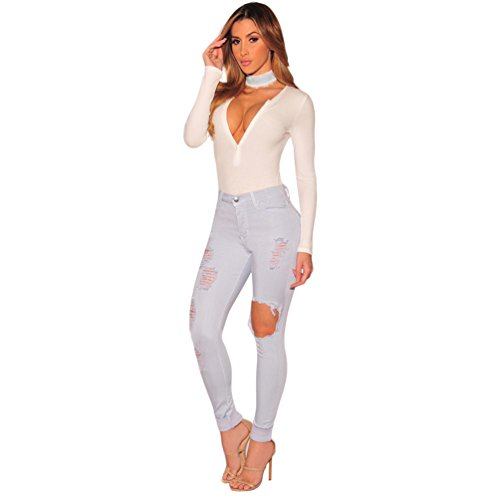 Pantaloni Skinny Strappato Pants Slim Retro Sentao Scarni Donna Leggings Jeans Grigio qxTIw7X