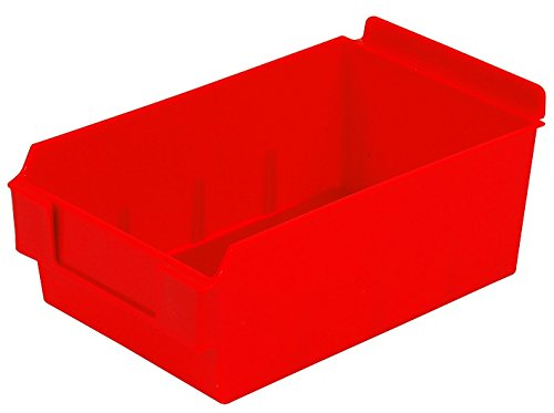 Slatwall Storage / Display bin, Plastic (polypropylene), 8.75''L x 5.5''W x 3.37''H, Red (12 Pack) Fits grid and pegboard with optional adapters.
