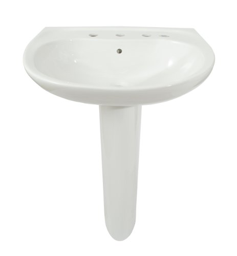 TOTO LPT242.8G#01 Prominence Lavatory and Pedestal with 8-Inch Centers, Cotton White