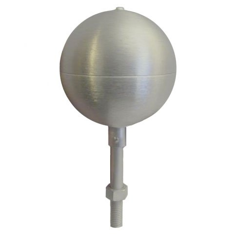 Flagpole ball top ornament 3 Inch Aluminum Anodized Clear