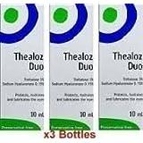 3 x Thealoz Duo Senza conservanti 10ml per Grave Asciutto occhielli. NUOVO
