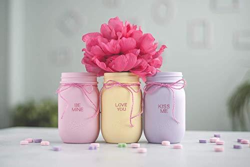 Candy Heart Saying Valentines Day Mason Jar Decor