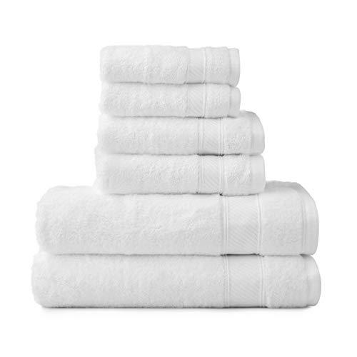 (Wamsutta 6-Piece Hygro Duet Bath Towel Set Includes Washcloths,Hand Towels Bath Towels (White))
