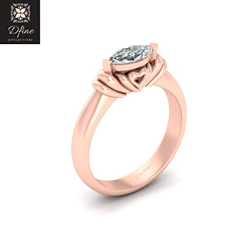 Solitaire Marquise Diamond Promise Ring Heart Engagement Ring Womens Solid 925 Silver