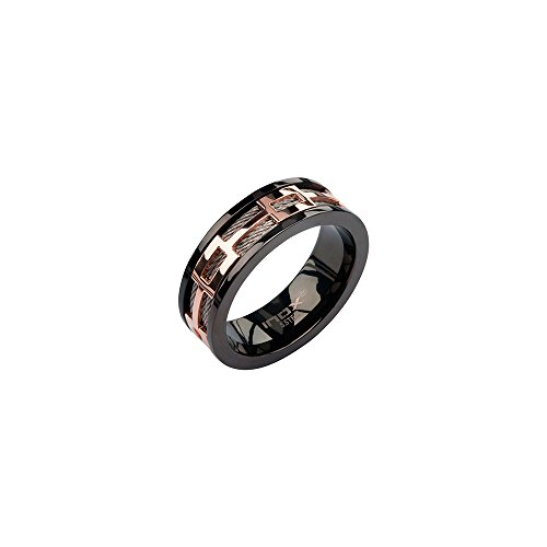 Black Diamond Gold Wedding Rings - Wedding Bands,men's Stainless Steel Cable in Rose Gold Ip Window in Black Ip (10)
