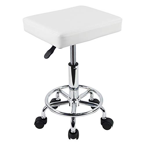 KKTONER Square Rolling Stool PU Leather Height Adjustable Swivel Massage SPA Salon Stools Task Chair with Footrest (white)
