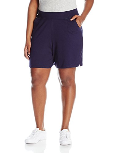 Just My Size Women's Plus Cotton Jersey Pull-On Shorts - 4X Plus - Navy