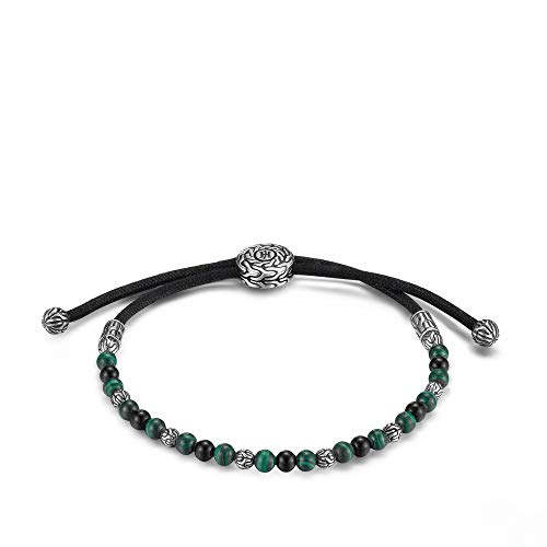 MEN's Classic Chain Pull Through Bracelet with Black Onyx and Malachite, Size M to L