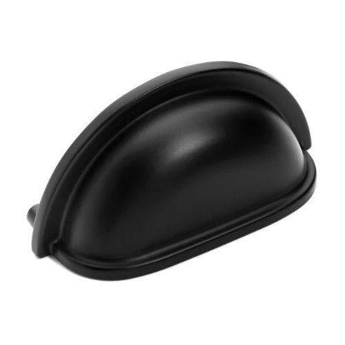 Dynasty Flat Cup - Dynasty Hardware P-2769-FB-25PK Flat Black Cabinet Hardware Bin Pull, 25-Pack