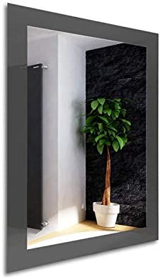 Color Glass Frame Modern Framed Rectangle Wall Accent Mirror 36.inch X 24.inch, Graphite Gray