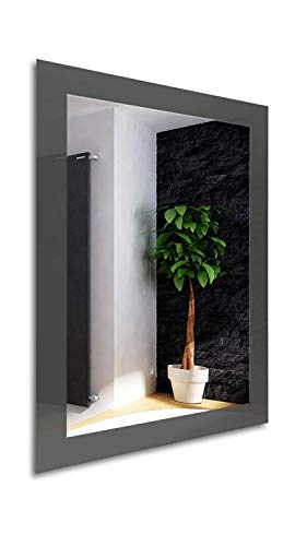 Color Glass Frame Modern Framed Rectangle Wall Accent Mirror (36.inch X 24.inch, Graphite Gray) ()