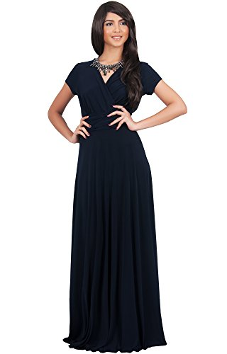 KOH KOH Women Long Cap Short Sleeve V-neck Flowy Cocktail...
